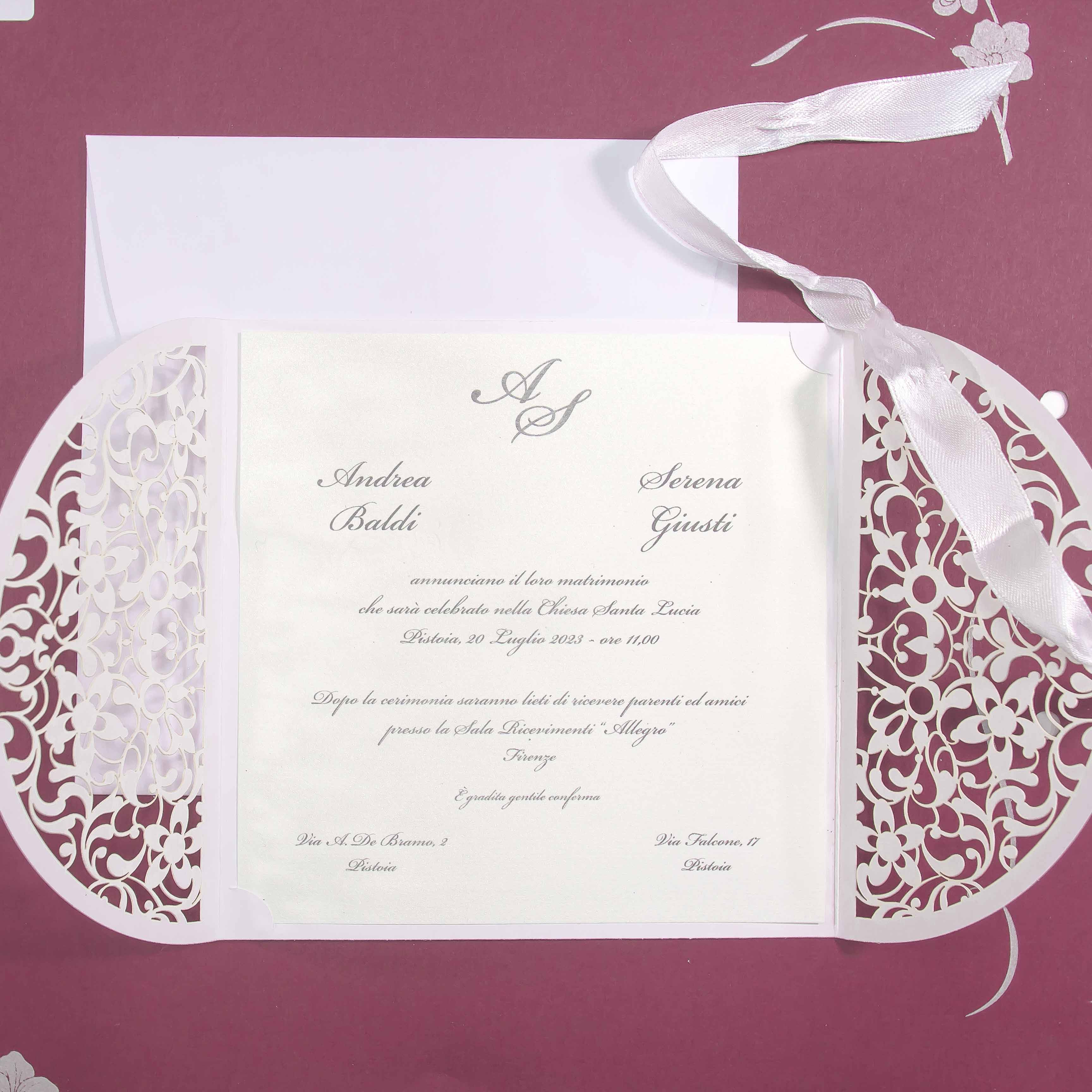 partecipazione di matrimonio E45597 Lasercut