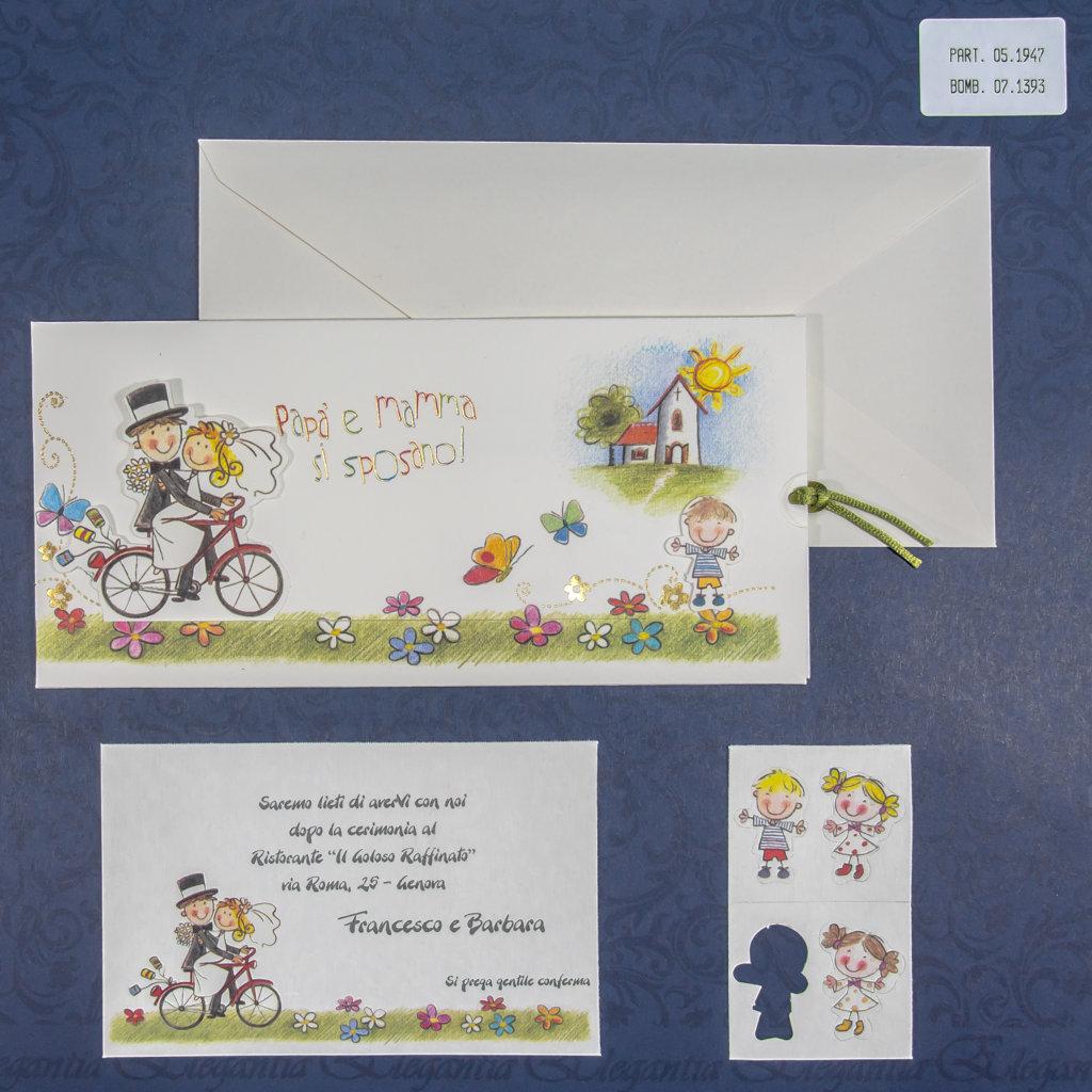 Partecipazioni Matrimonio Genova.Partecipazione Di Matrimonio Simpatica Due Sposi Su Bicicletta
