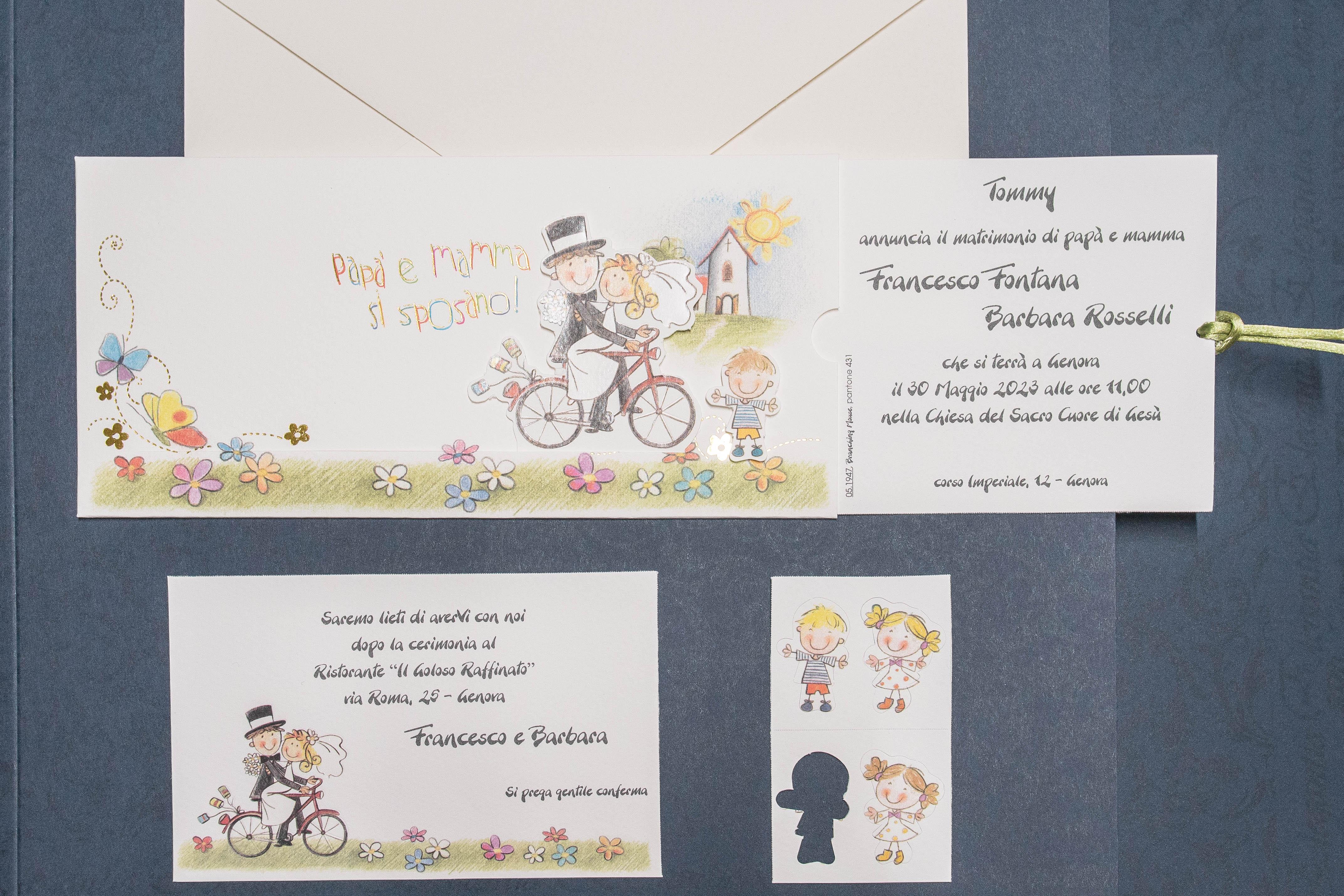 Partecipazioni Matrimonio Bicicletta.Partecipazione Di Matrimonio Simpatica Due Sposi Su Bicicletta