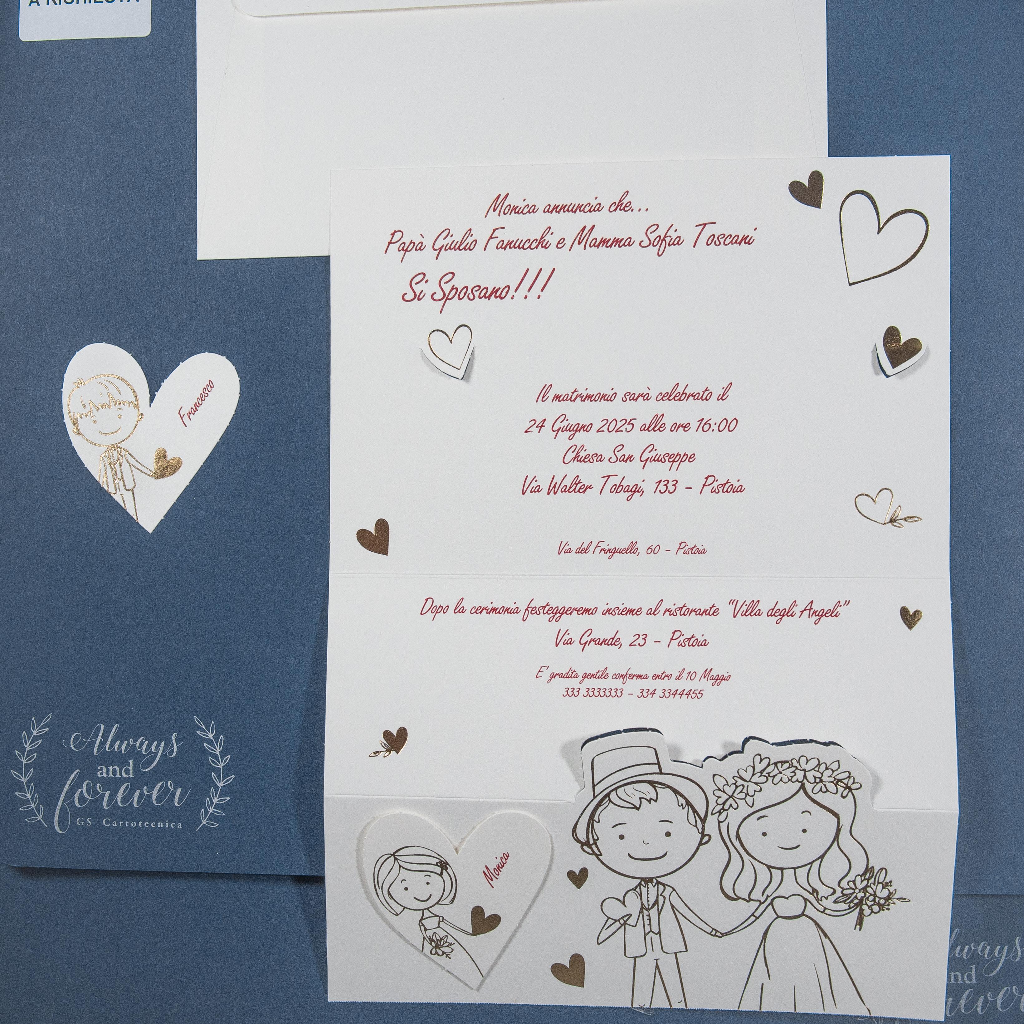 Partecipazioni Matrimonio Figli.Partecipazione Di Matrimonio Con Sposi E Figli Stilizzati In Oro