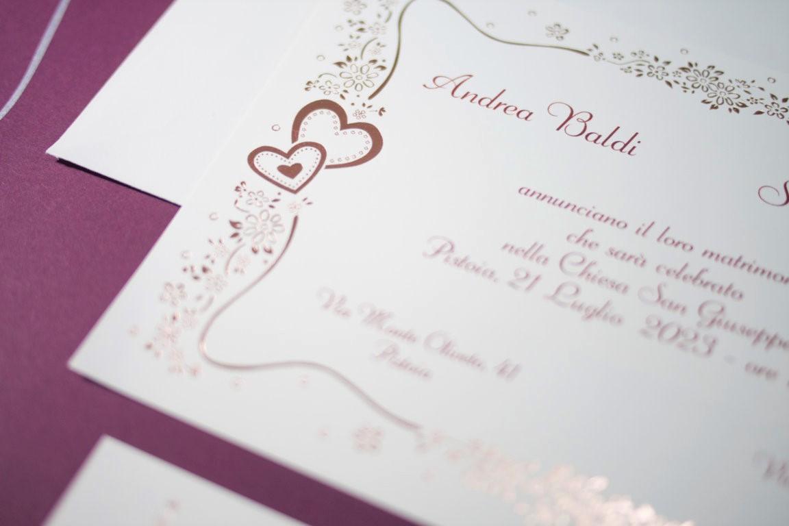 partecipazione di matrimonio E45639 Gold Rose